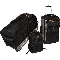 Timberland Hampton Falls 3 Piece Luggage Set - Black Orange