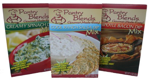 Pantry Blends Dip Variety Pack, Chipotle Bacon(1.0 Ounce),Creamy Spinach(.8 Ounce) and Cool Ranch Salsa(1.4 Ounce), (Pack of 2)