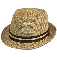 Mens Structured 100% Paper Straw Black Band Fedora Hat