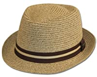 Mens Structured 100% Paper Straw Black Band Fedora Hat
