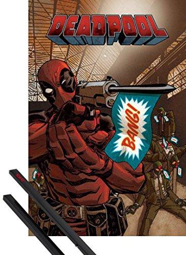Poster + Sospensione : Deadpool Poster Stampa (91x61 cm) Bang e Coppia di barre porta poster nere 1art1®