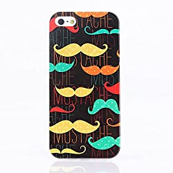 KolorFish iFunky Designer Printed Thin Silicone Back Case Cover for Apple iPhone 5, iPhone 5S, iPhone SE (Multi Mustache)
