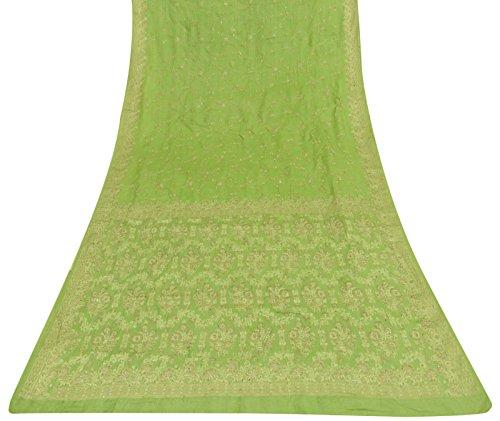 tessuto-indiano-vintage-pura-seta-saree-green-art-tessuto-antico-sari-usato-craft