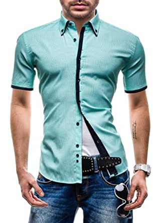 BOLF - Chemise casual - à manches courtes - MODELY YCT - Homme - S Vert clair [2B2]