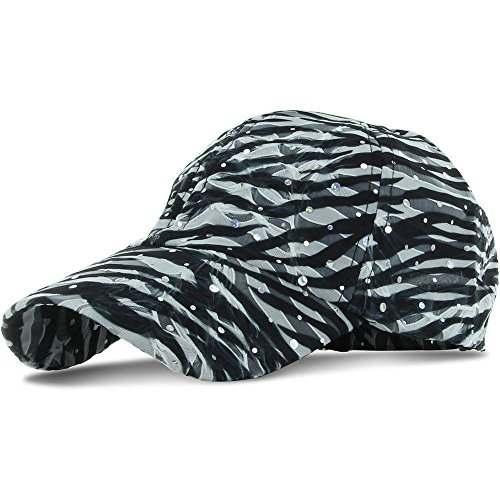 [Zebra_100% Polyester Glitter Baseball Cap Golf Hat Rhinestone (US Seller)] (Miniture Top Hats)