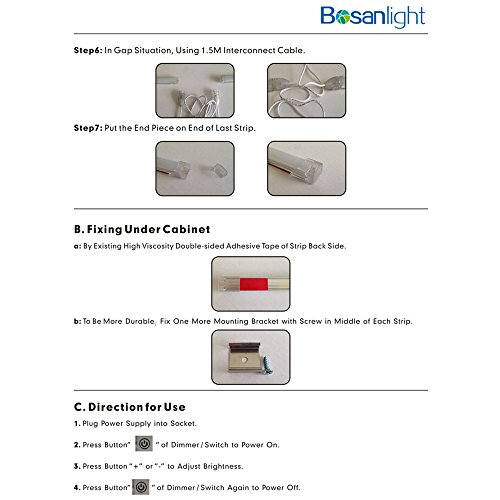 bosanlight dimmable under cabinet lighting 6 x 12 strips total of 24w cabinet lighting 6