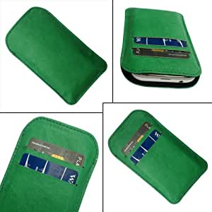 i-KitPit Quality PU Leather Pouch Case Cover For Karbonn A26 (GREEN)