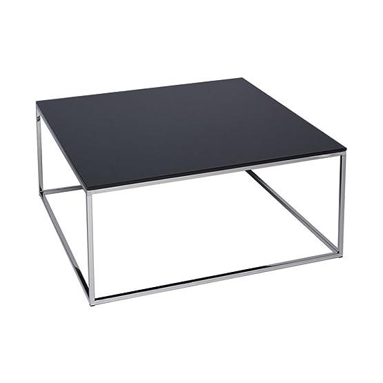 Gillmore Space Vetro nero e argento Metal contemporanea piazza tavolino