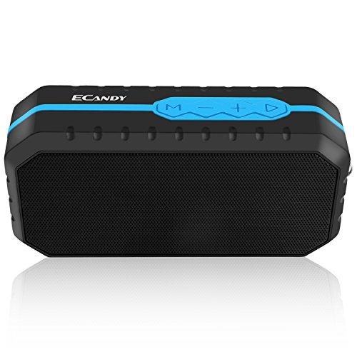 Ecandy Tragbarer Bluetooth V2.1+EDR Lautsprecher Wasserdichter und Stoßfest Bluetooth Speaker Boombox mit 1800mAh Powerbank Funktion für iPhone, iPad, Samsung, Computer und Weitere (blau)