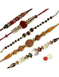 Ethnic Rakhi Fashionable And Stylish Rajasthani Colorful Floral Pattern Mauli Thread And Beads Rakhi Set Of 5...
