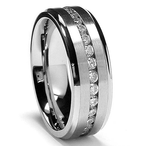 8MM High Polish / Matte Finish Eternity Stainless Steel Wedding Band Rng with CZ Sz 12