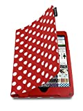 Lente Designs® Apple iPad Mini 1/2 folding folio smart cover case in beautiful red and white polka dots