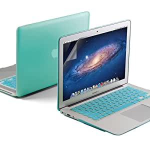 """GMYLE(R) 3 in 1 Robin Egg Blue Turquoise Matte Rubberized (Rubber Coated) Hard Case Cover for Aluminum Unibody 11"""" inches Macbook Air - with Robin Egg Blue Turquoise Silicon Keyboard Protector - 11 inches Clear LCD Screen Protector"""