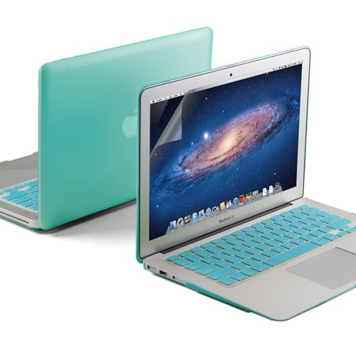 GMYLE(R) 3 in 1 Robin Egg Blue Turquoise Matte Rubberized (Rubber Coated) Hard Case for 13.3 inches Macbook Air - Robin Egg Blue Turquoise Silicon Keyboard Protector - Clear LCD Screen Protector - (Fi