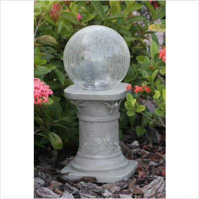 Smart Solar 3560MRM1 Chameleon Solar Crack LED Glass Gazing Ball with Pedestal, Color Changing or White Mode