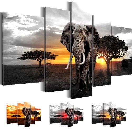 Bilder-170x100-cm-100-Made-in-Germany-Bild-auf-Premium-Vlies-Leinwand-Africa-Sunset-Elefanten-Elefant-Wand-Bild-5-teilig-grau-0012527c