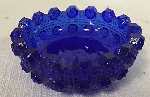 Salt Cellar - Lacey Daisy - Cobalt Blue - American Made Cobalt Carnival Glass
