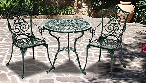 3tlg. Gartenmöbelset 2 Gartenstühle + Gartentisch 21110 aluguss grün