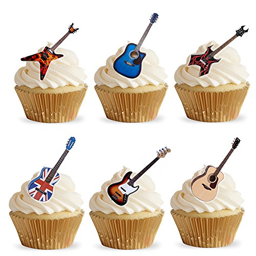 28-Stand-Up-Acoustic-Rock-Guitar-Themed-Edible-Wafer-Paper-Cake-Toppers-Decorations-by-Top-That
