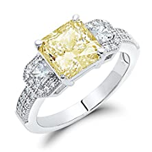 buy Sterling Silver Canary Yellow Cubic Zirconia Princess Cut Engagement Ring