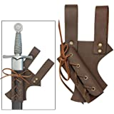 Medieval Renaissance Hawk Wood Genuine Real Leather Sword Right Hand Frog Brown