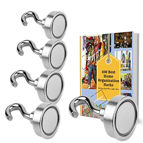 MIGHTY MAGNETIC HOOKS- The ONLY 35lb Heavy Duty Neodymium magnetic hook with a FREE Hook and an eBook- Multiuse for organizing Indoor/Outdoor. (Garage Mail Bag compare prices)
