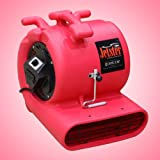 Jetster ETL Listed Air Mover Carpet Blower & Overthrow Dryer with low amps + GFCI & Carpet Clamp 1 Year Warranty! RED