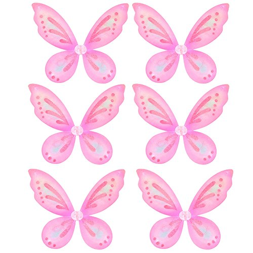 Bulk Pink Sparkle Fairy Butterfly Wings (6 pc)