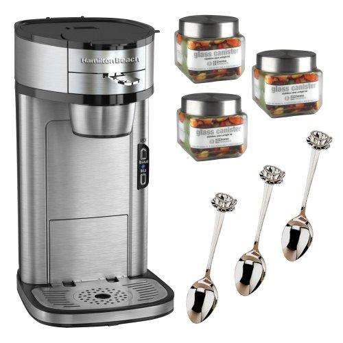 Hamilton Beach Single Serve Scoop Coffee Maker + 3 Pcs Glass Jar Square-Small + 3 Pcs 4.5 in. Cup & Saucer Demi Spoon