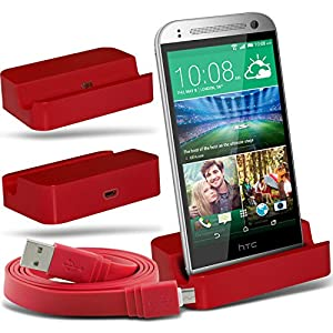 (Red)HTC One Mini 2 Micro-USB-Desktop-Ladestation stehen Mount & Micro USB Laptop / PC Data Sync-Ladekabel By Fone-Case