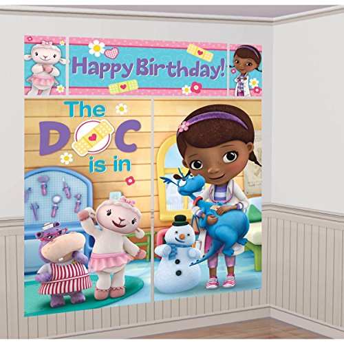 Disney Junior Doc McStuffins Scene Setter Wall Decorations Kit - Kids Birthday and Party Supplies Decoration
