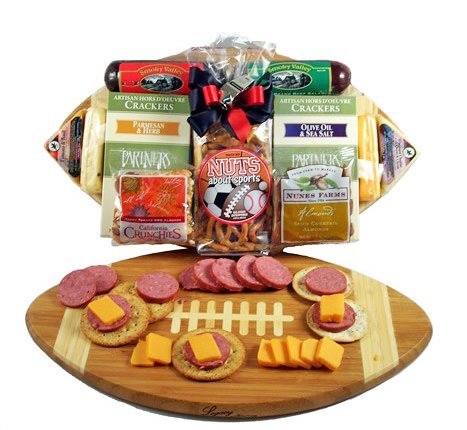 Football Themed Meat & Cheese Gift Tray/Cutting Board | Size Medium