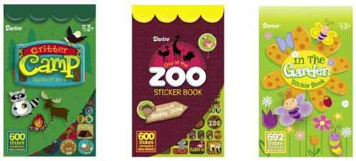 3 BOOKS of Mini ANIMALS & Nature STICKERS - (1892 total stickers) CRITTERS - ZOO - IN the GARDEN Kid's ACTIVITY/Craft
