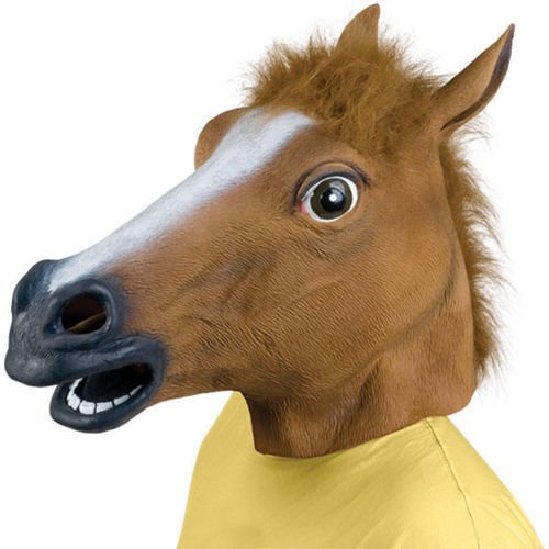 Anrain Halloween Horse Head Mask Latex Animal Costume Prop Gangnam Style Toys Party (Horse Mask Child)