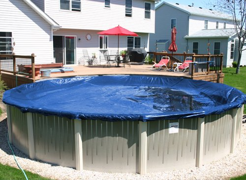 Deluxe plus 10 year round above ground swimming pool for Above ground pool cover ideas