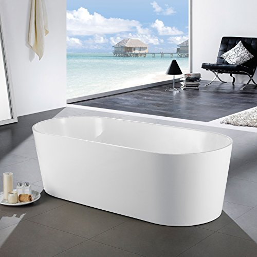 MAYKKE Tisbury 67 Inches Modern Oval Acrylic Bathtub Freestanding White Tub in Bathroom, 13-3/4 Inches Water Depth, 66 Gallons Water Capacity, XDA1411002 (Soaker Tub Drain Kits compare prices)