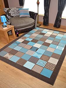 Trend Brown Teal Window Design Rug. Available in 8 Sizes (120cm x 170cm) from Rugs Supermarket
