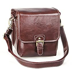 Koolertron Waterproof Vintage fashionable PU Leather DSLR Camera Bag Shoulder Messenger Bag Fit DSLR with 1 lens For Canon Sony Nikon Canon Olympus And So On (Coffee)