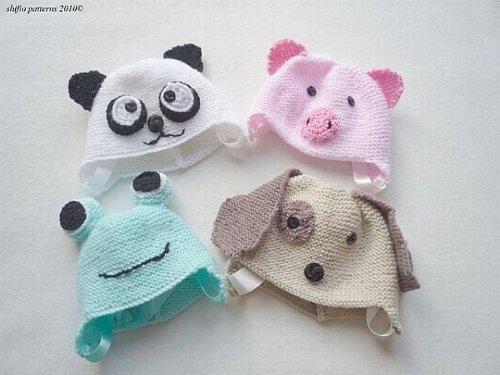 Baby Animal Hats Knitting Pattern 165 UK