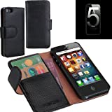 i-Blason Apple New iPhone 5S / iPhone 5 Genuine Leather Book Folio Wallet Case AT&T / Verizon / Sprint CDMA GSM Version – Black by Leather Factory Outlet