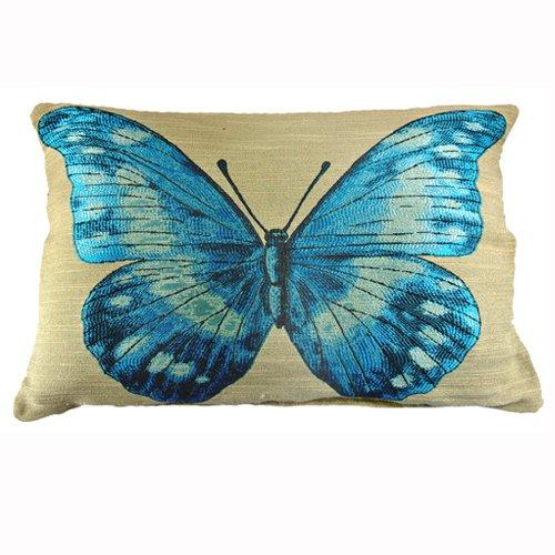 New Blue Embroider Butterfly Art Decorative Lumbar Pillow Case Cushion Cover Sham