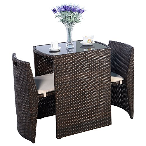 Eminentshop 3 Pcs Brown Rattan Wicker Cushioned Patio Furniture Set (Patio Furniture Small Space compare prices)