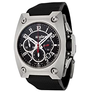 Wyler Geneve Men's 100.4.00.BB1.RBA Code R Collection Automatic Chronograph Black Rubber Watch