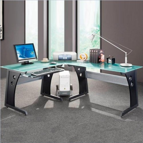 Graphite & Frosted Glass L-Shaped Computer Desk