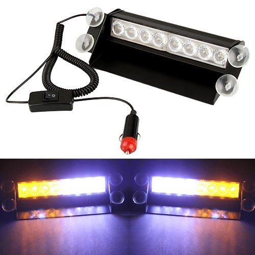 Car Emergency White yellow 8 LED Police Strobe Flashing Flash Light