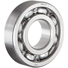 NSK 6300 Series Deep Groove Ball Bearing, Single Row, Open, Pressed Steel Cage, Normal Clearance, Metric