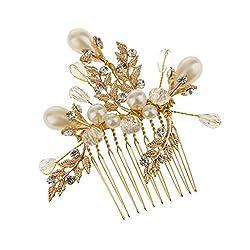 Imported Bridal Wedding Crystal Diamante Pearl Hair Comb Slide Gold Leaf Hair Clip