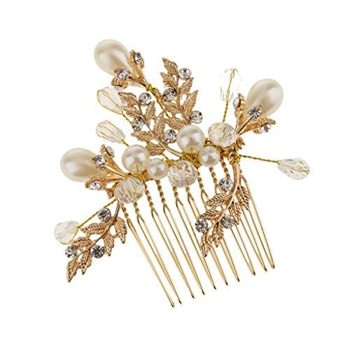 Sposa Di Cristallo Di Nozze Capelli Diamante Perla Pettine Scorrevole Fermaglio Per Capelli Foglia D'oro