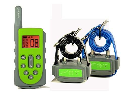 Koolkani® 2-Dog Remote Dog Training Collar Systems: 600 Meter/650 Yards Remote Range Waterproof Rechargeable Remote No Bark E Shock Training Collar System