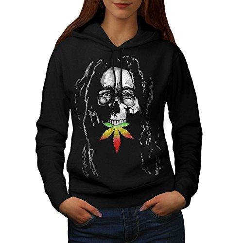 Bob Marley Scheletro Musica Cranio Da donna Nuovo Nero L Felpa Con Cappuccio | Wellcoda